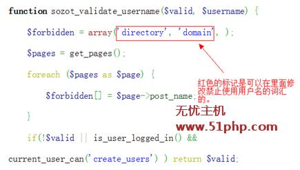 f1 完美解决wordpress禁止注册某些用户名信息方法