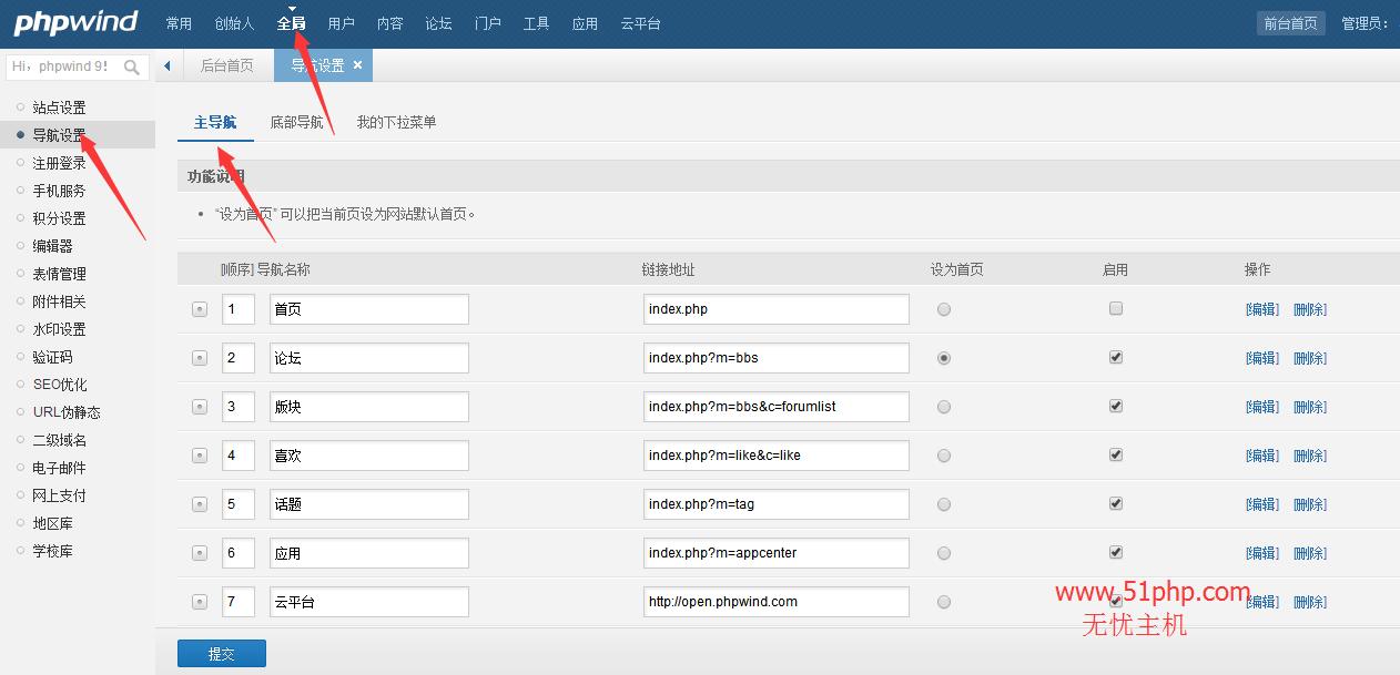 phpwind后台功能之导航设置介绍
