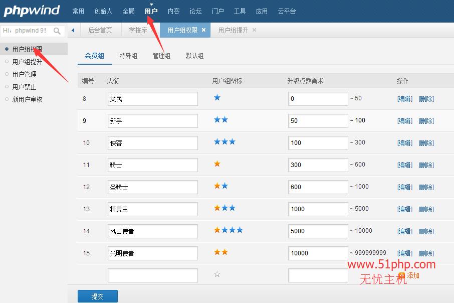 111 phpwind后台功能之用户组权限介绍