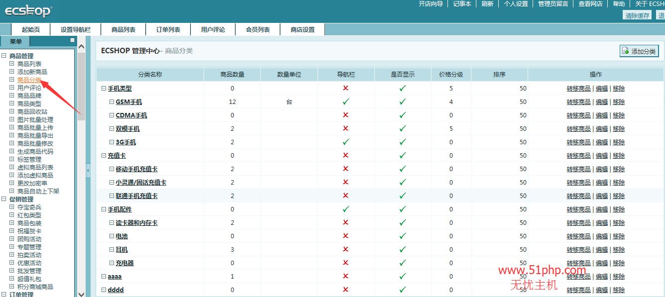 128 ecshop后台功能之商品分类介绍