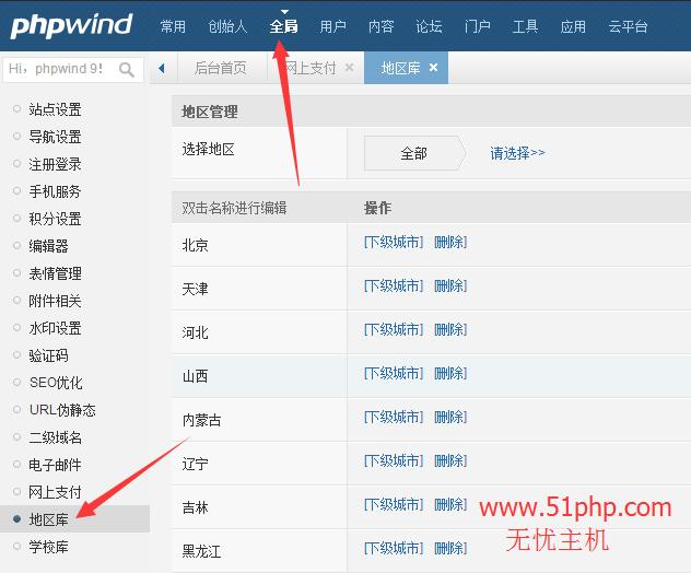 17 phpwind后台功能之地区库介绍