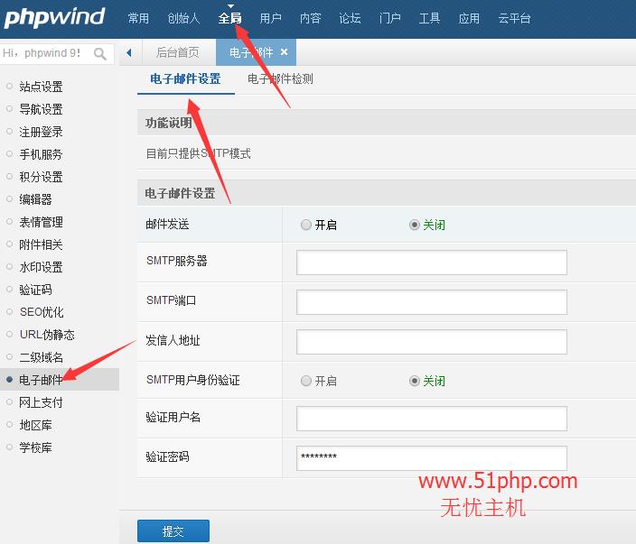 18 phpwind后台功能之电子邮件介绍