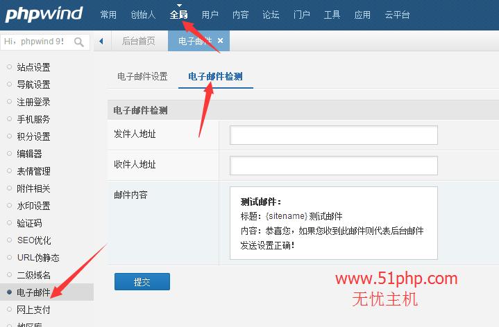 27 phpwind后台功能之电子邮件介绍