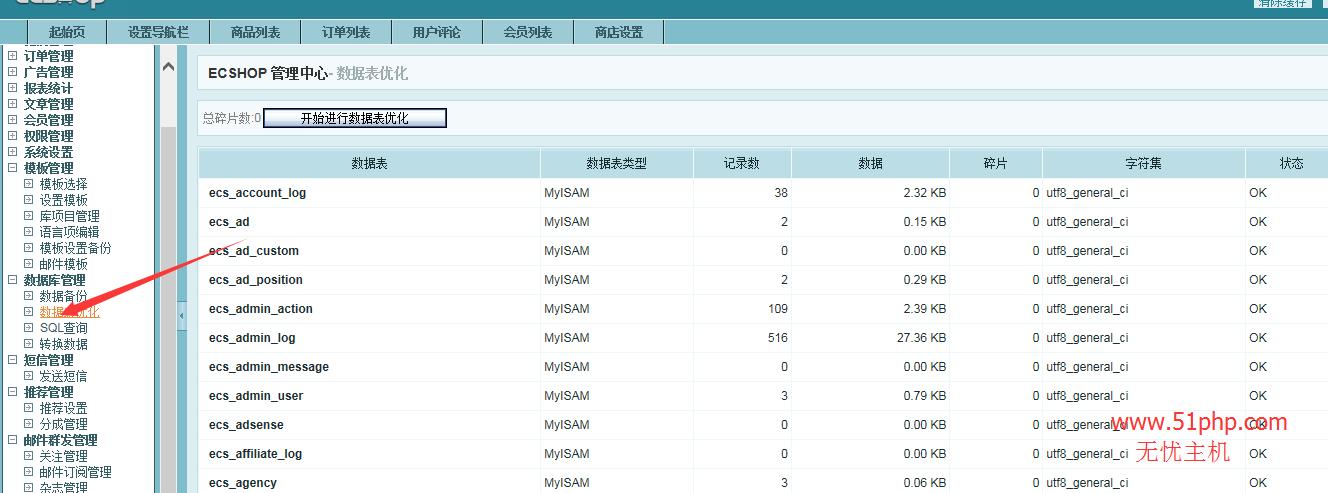 119 ecshop后台功能之数据表优化和sql查询介绍