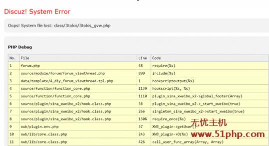 dz311 discuz出现:System Error Oops! System file lost class/3tokis/3tokis gvw.php临时解决方案